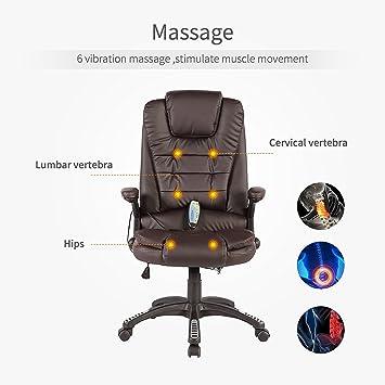 Uenjoy Fauteuil De Bureau Avec 6nbsppoints Massage Chaise Ergonomique Chauffant Vibrant Cuir