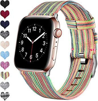 Ouwegaga Compatible con Apple Watch Correa 38mm 40mm 42mm 44mm, Banda de Tela Tejida de Repuesto, Pulsera Deportiva de Nylon Compatible con iWatch Series 5 4 3 2 1, Multicolor 38mm/40mm: Amazon.es: Electrónica