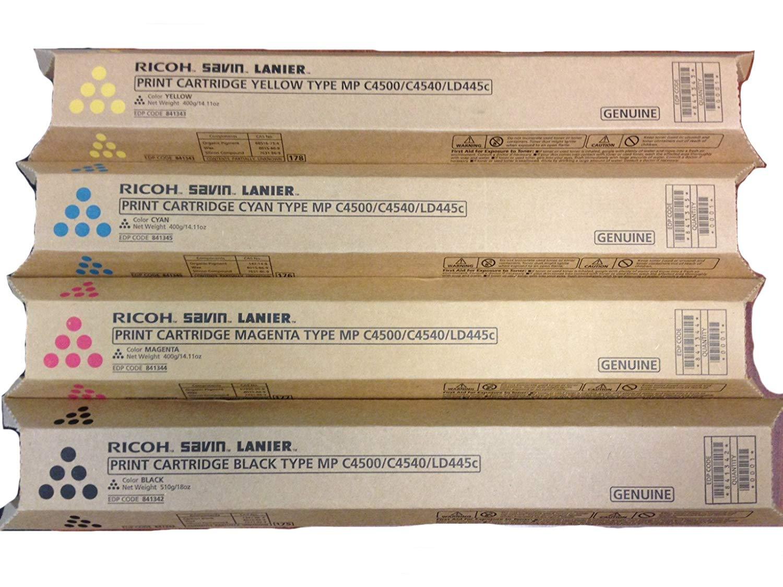 Ricoh Aficio MPC4500a Toner Cartridge Set (OEM) Black, Cyan, Magenta, Yellow