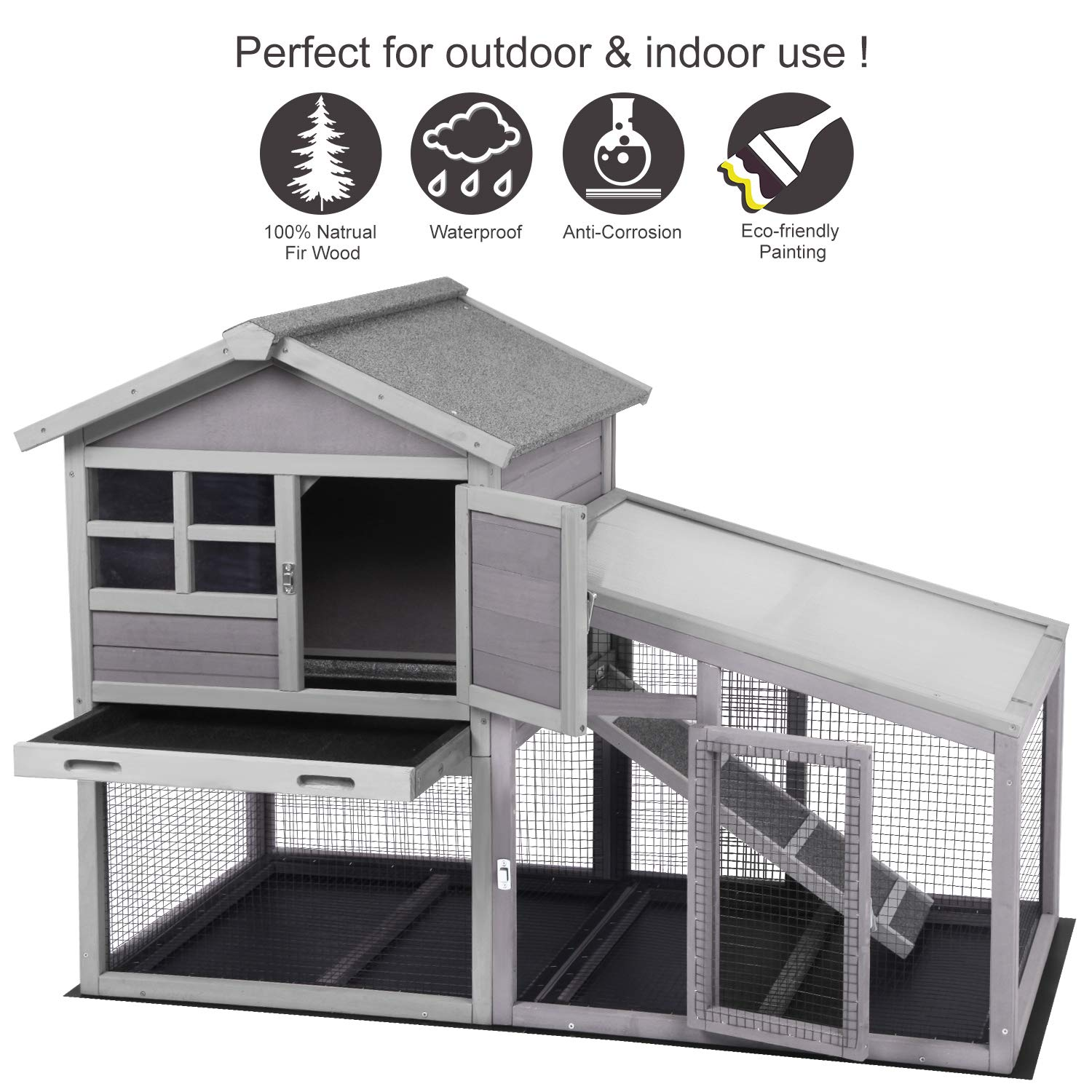 Aivituvin Chicken Coop Indoor and Outdoor,Rabbit Hutch with Removable Bottom Wire Mesh & PVC Layer,Deeper No LeakageTray,Wooden Hen House with Nesting Box,UV Panel by Aivituvin (Image #2)