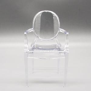 Odoria 1:6 Miniature Clear Arm Chair for Barbie Size Dollhouse Furniture Accessories