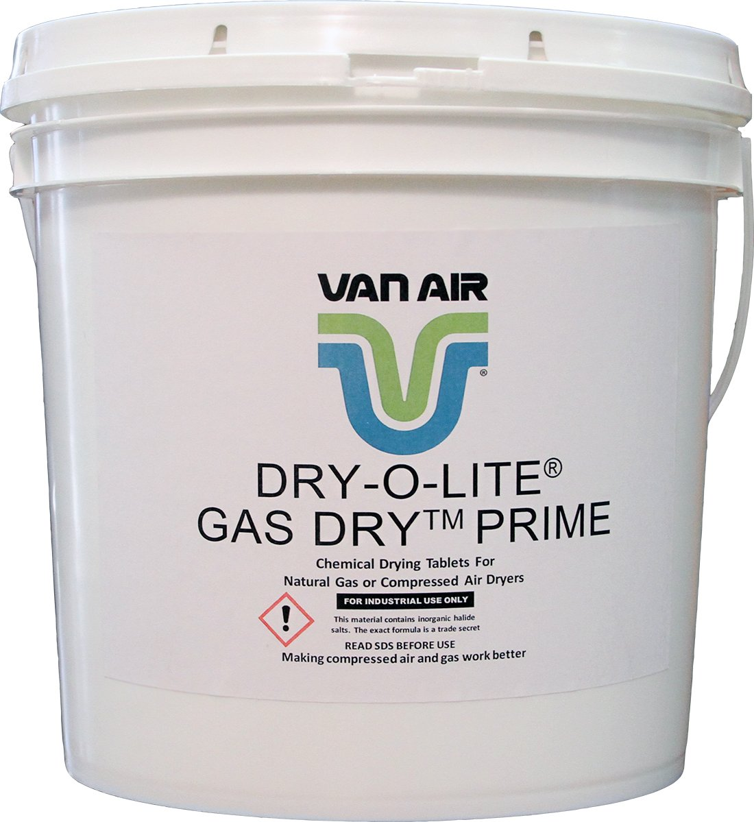 Van Air Systems 33-0403 Dry-O-Lite Desiccant, 18 lb Pail, Cylindrical, White