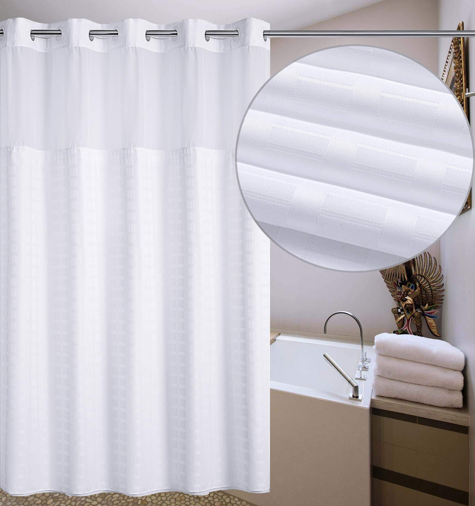 Conbo Mio Hookless Shower Curtain with Snap in Liner for Bathroom Waterproof Anti Mildew Bacterial Resistant Rust Proof with Magnet Premium ABS Flex On Rings (White, 72'' x 72'')
