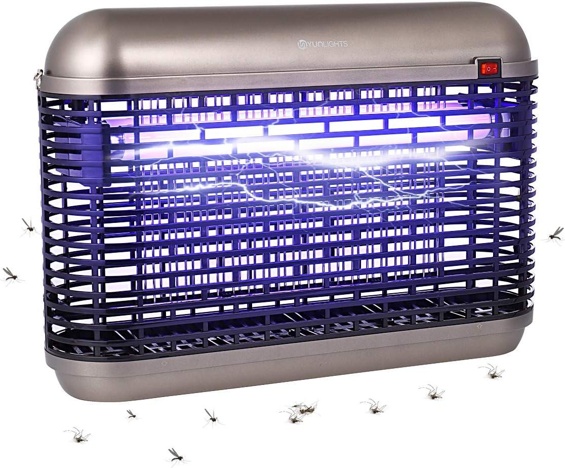 YUNLIGHTS Destructeur d'insectes électrique 20 W Destructeur d'insectes électrique avec lumière UV, moustiquaire pour intérieur et extérieur