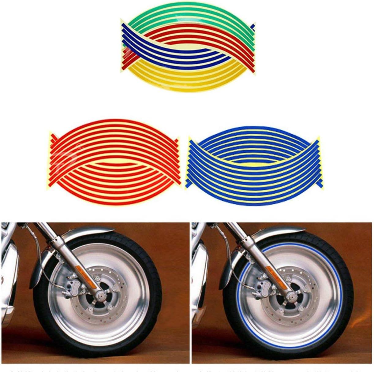 Tiras Adhesivas para Ruedas de Motocicleta de 18 Pulgadas Calcoman/ías Reflectantes Cinta Bicicleta Estilo de Auto Calcoman/ía extra/íble Pegatinas para Ruedas de Coche Pegatinas Rojo