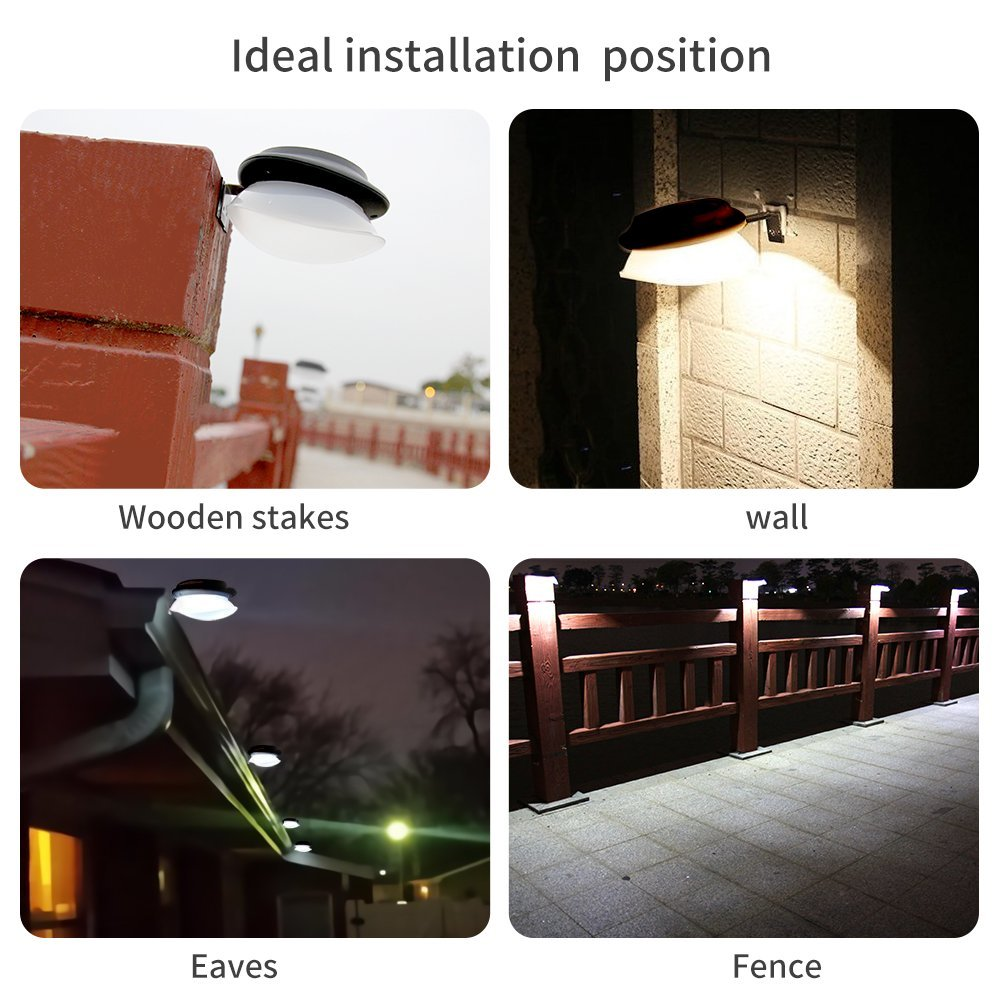 KASUN Solar Gutter Lights, Newest 9 LED Outdoor Fence Light Waterproof Wall Lamps for Garden Patio Driveway Deck Stairs - White Light, Pack of 6