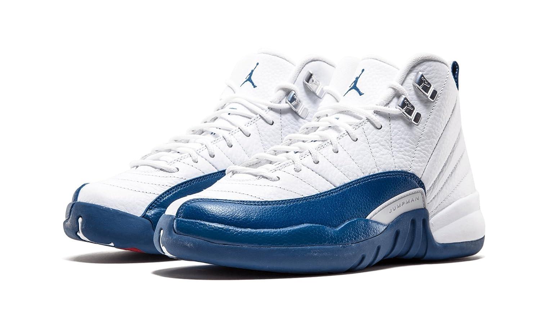 the latest a1de6 e321a Amazon.com   Jordan 12 Retro Bg Big Kids Style, White French Blue Metallic  Silver, 6.5   Basketball