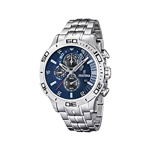 6f1b9da561b4 Festina Men s Chronograph Watch F16565 2 with Stainless Steel Strap and  Blue Dial  Festina  Amazon.co.uk  Watches
