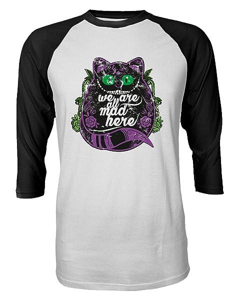 New Novelty Shirt Cheshire Cat Shirt Wonderland Halloween Funny Raglan Quarter Sleeve S Tshirt