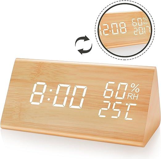 Bashley Numérique Réveil Horloge Bois Commande vocale Affichage LED température humidité