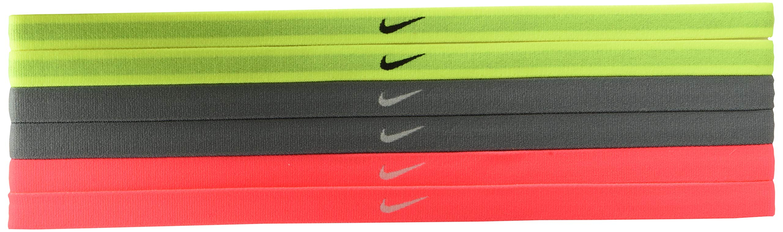 Nike Women's Swoosh Sport Headbands 6PK Volt/Cool Grey/Hot Punch Size One Size by Nike (Image #1)