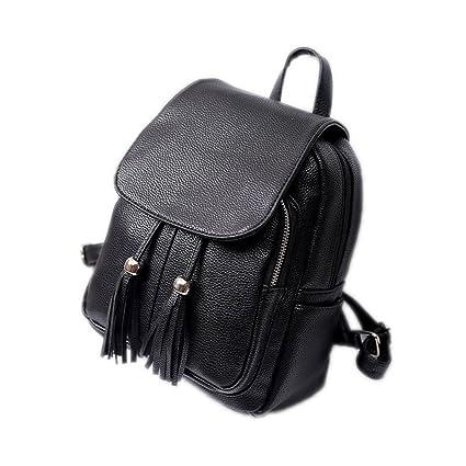 fccdabfebe62 Pu Leather Shoulder Bag Fashion Tassel Backpacks Teenag Girls Mini Female  Backpack Black