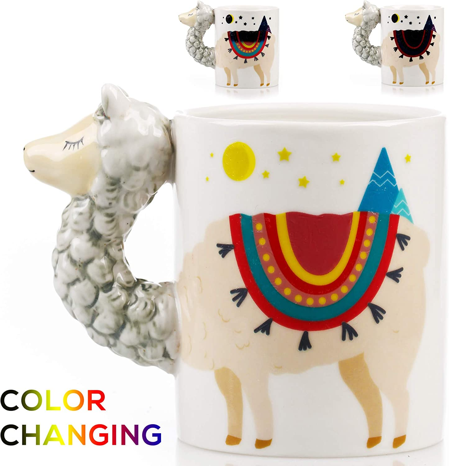 Color Changing Llama Mug - 3D Ceramic Lama Coffee Mugs. Novelty Alpaca llama gifts. Perfect Holiday or Birthday Gift for Llama lovers. Great Kitchen, Office or Bedroom Decor. Makes A Great Cup of Tea
