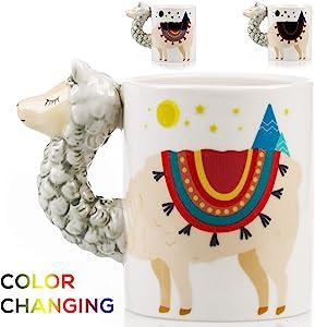 Color Changing Llama Mug - 3D Ceramic Lama Coffee Mugs. Novelty Alpaca llama gifts. Perfect Holiday or Birthday Gift for Llama lovers. Great Kitchen, Office or Bedroom Decor. Makes A Great Cup of Tea
