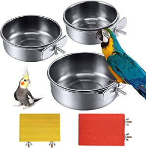 PINVNBY Bird Feeding Dish Cups Parrot Stainless Steel Food Water Dish Perch Stand Platform Paw Grinding Toy Feeder Cage Bowl with Clamp Holder for Budgies Parakeet Macaw Small Animal Chinchilla(5Pack)