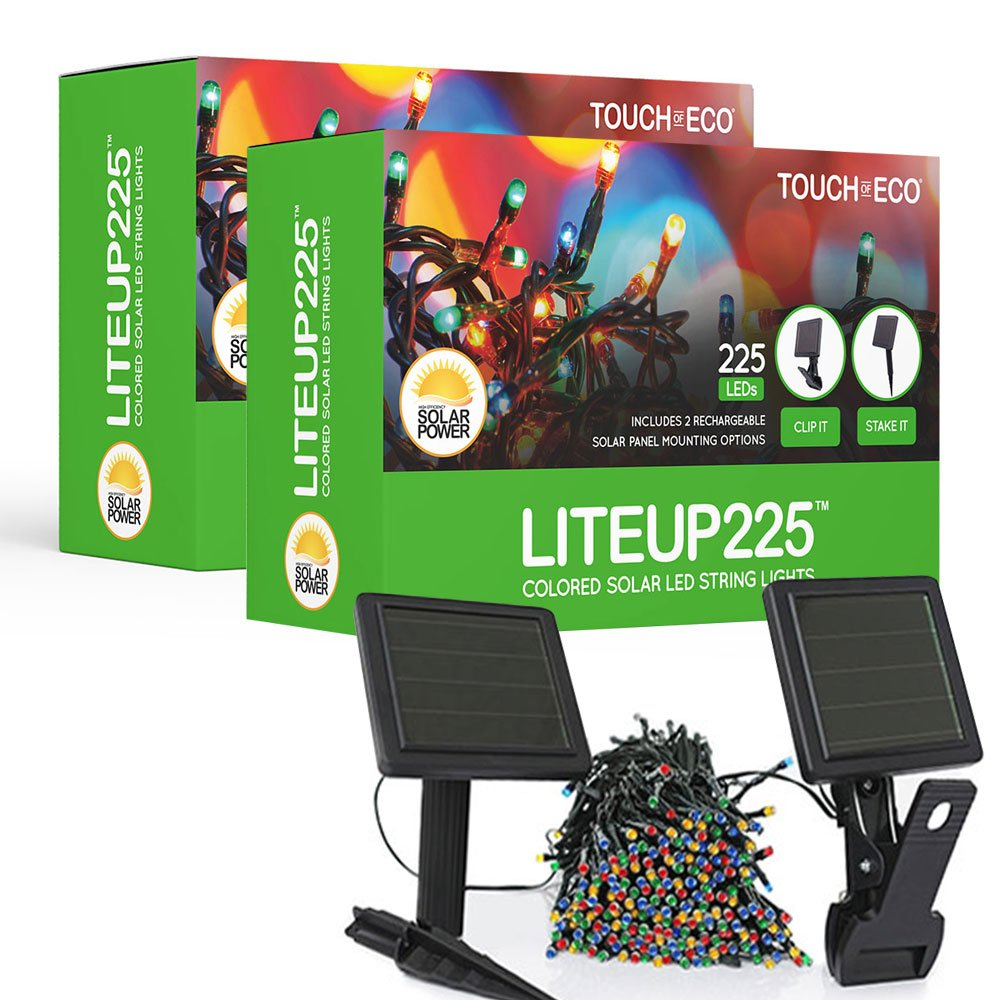 Touch Of ECO LITEUP225 Solar String Lights, Multi (Pack of 2)