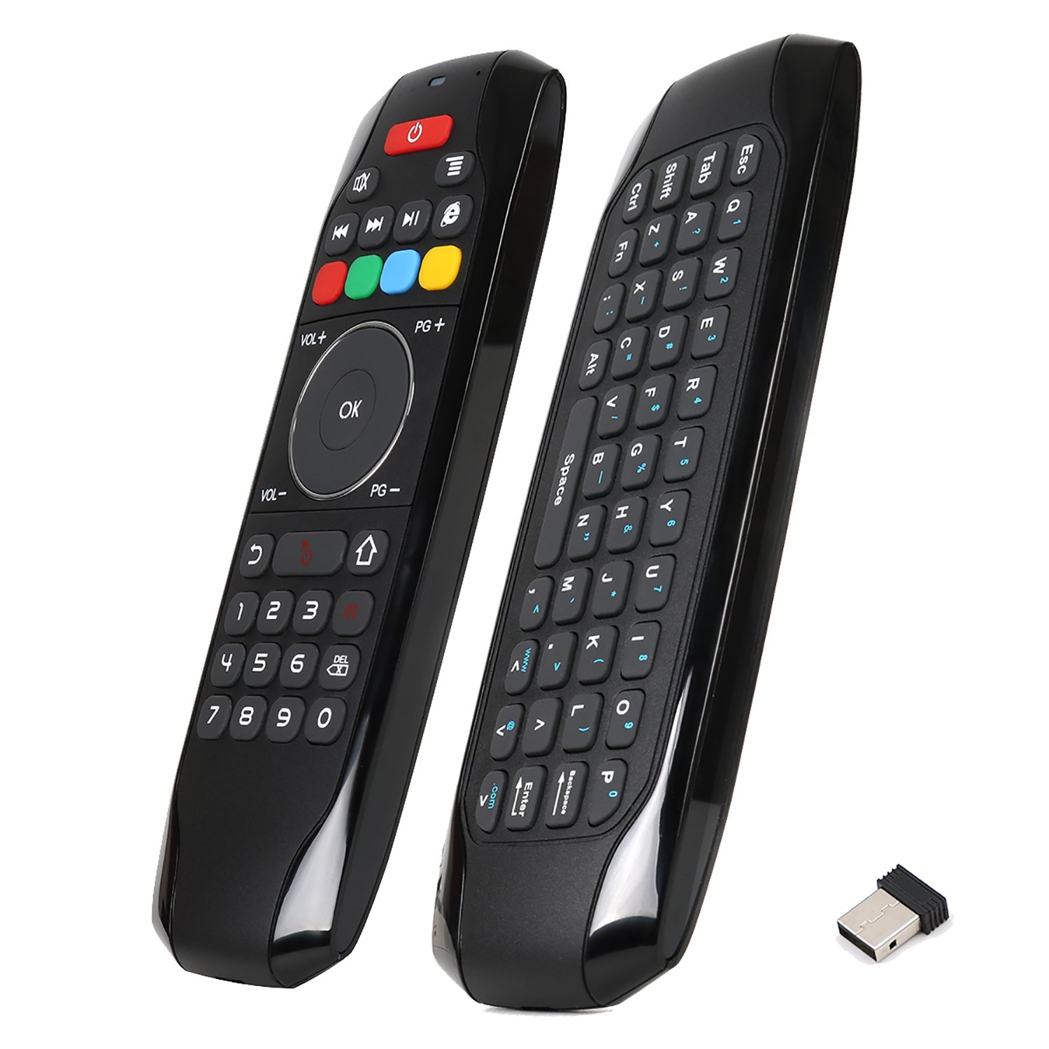 Air Mouse Remote, PTVDISPLAY 2.4G IR Learning Mouse Remote Control with Keyboard for Android TV Box Smart Projector MAC Pad HTPC iOS PC Windows Computer (Black) PTV-G7