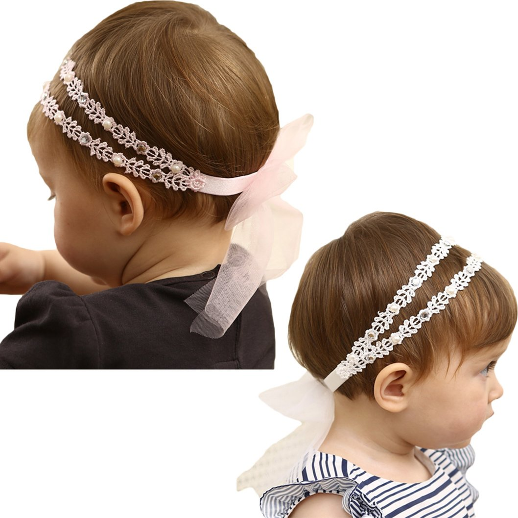 DANMY Baby Girl Rhinestone Crown Headbands Toddler Princess Headband Hair Accessories (Pink and White) by DANMY