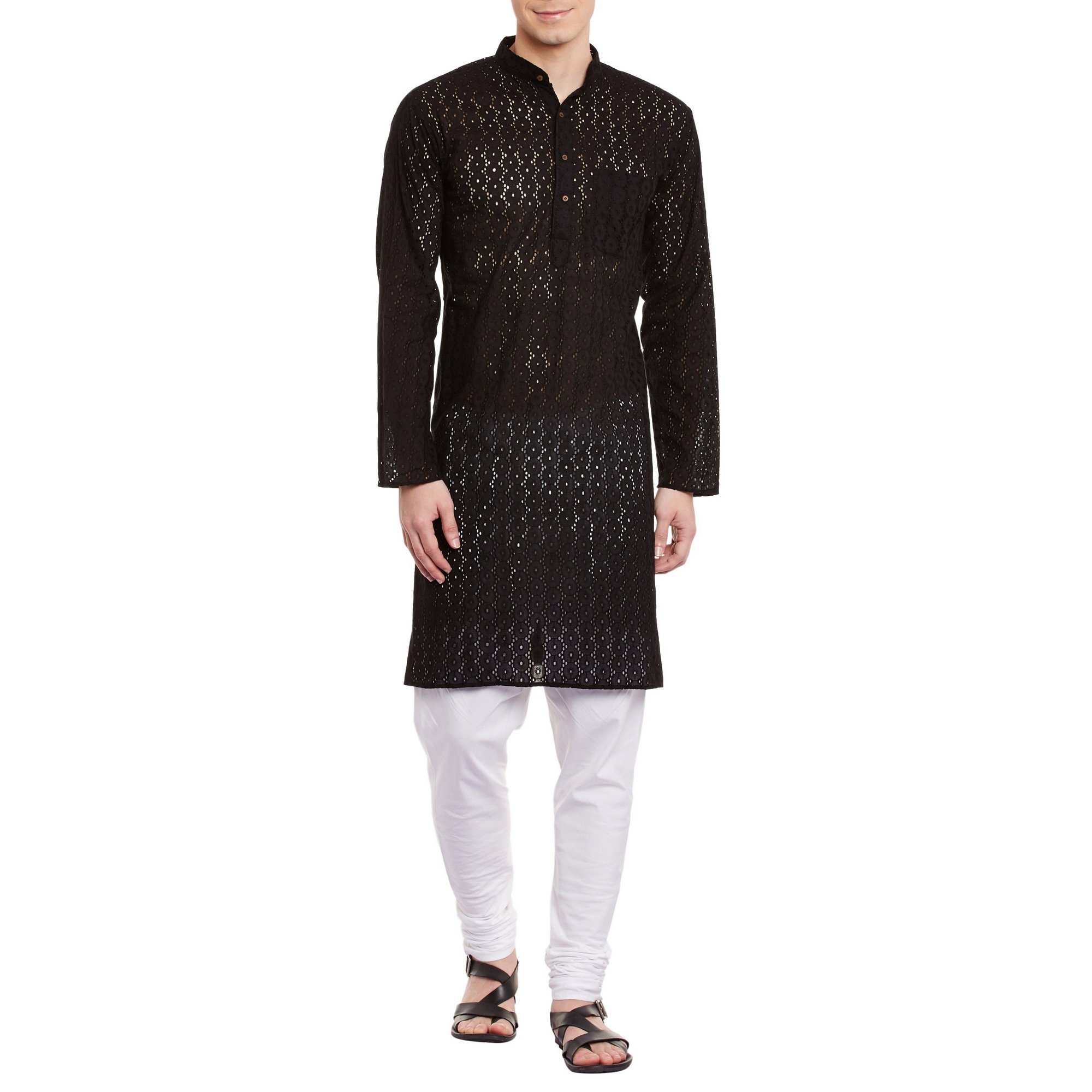 ShalinIndia Mens Embroidered Cutwork Cotton Kurta With Churidar Pajama Trousers Machine Embroidery,Black Chest Size: 40 Inch