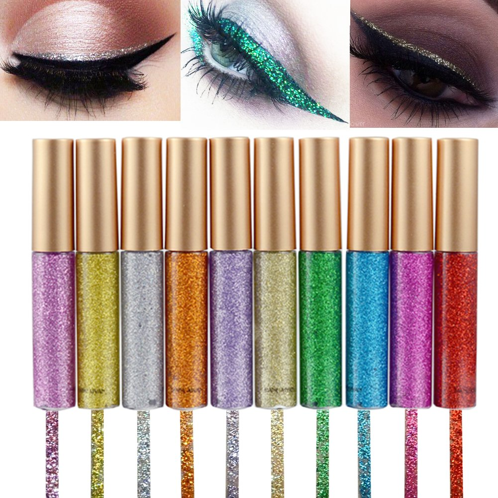 ALINICE 10 Colors Eyeliner Glitter Shimmer Pigment Silver Gold Metallic Liquid Glitters Eyeliner