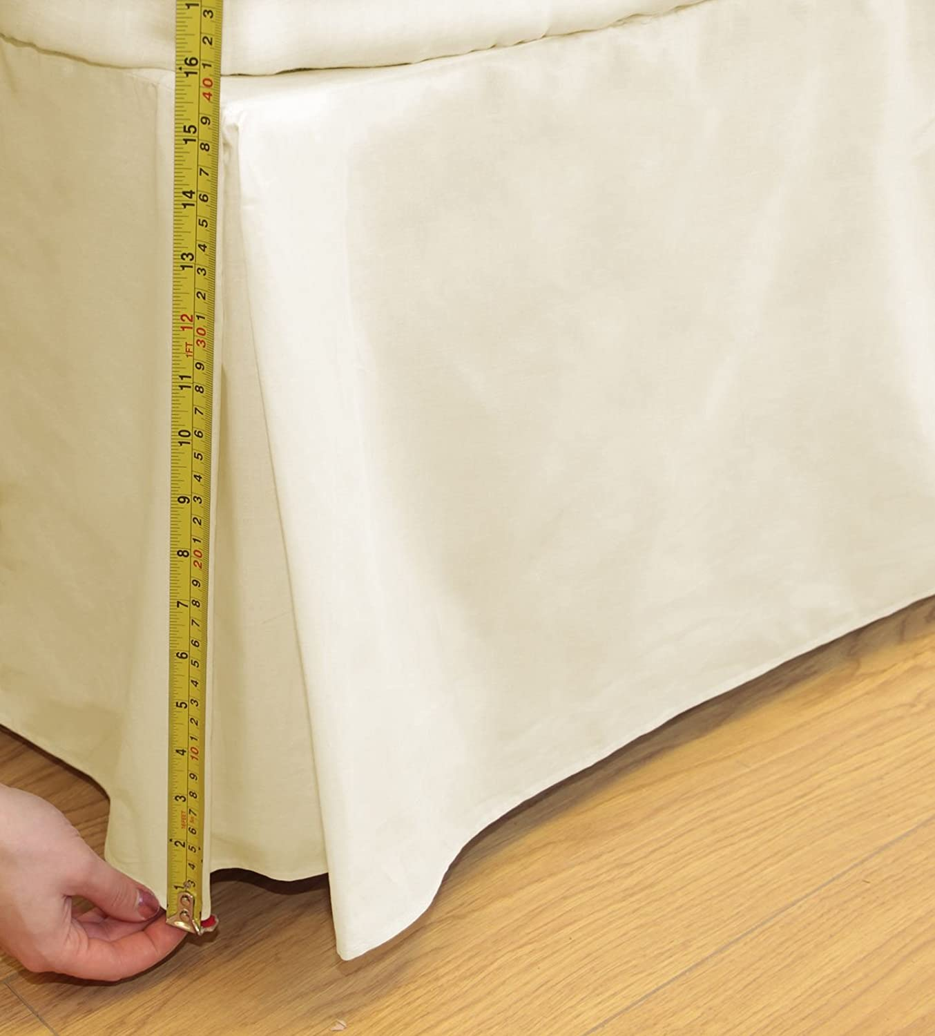 Ideal Textiles, Percale 180 Thread Count, Base Valance Sheet, Platform Valance, Cream Ivory, King Bed Size