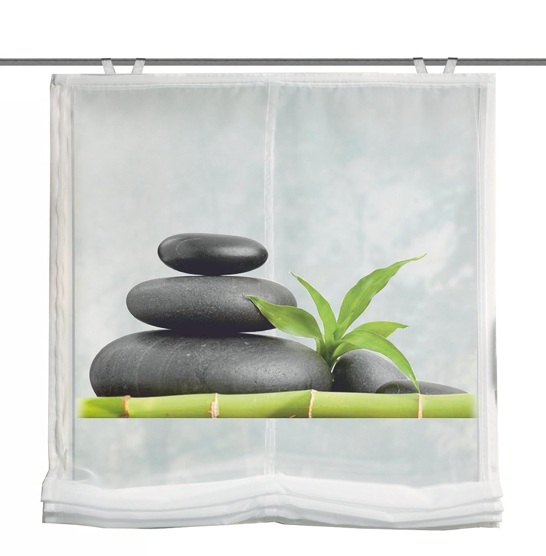 Home fashion 69898-768 Carozo - Tenda a pacchetto in voile con stampa digitale e accessori per il montaggio, ganci inclusi, 140 x 60 cm, colore: Verde 69898-768 140x60 cm