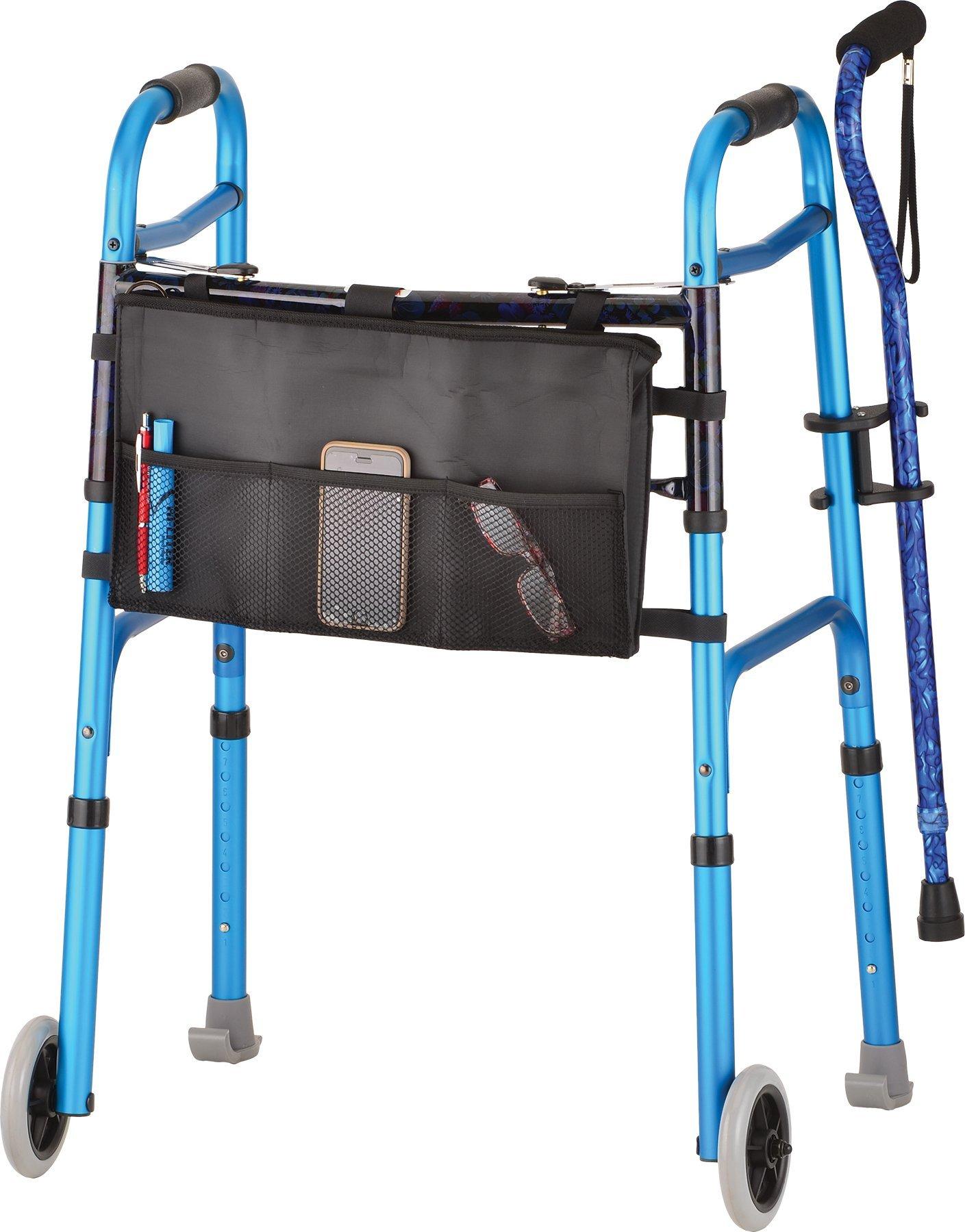 NOVA Designer Folding Walker with Cane and Accessories, Blue