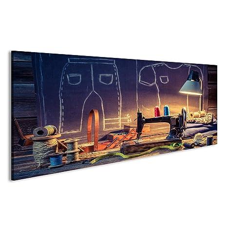 Cuadro Cuadros taller de sastre de edad con la máquina de coser y tela Impresión sobre lienzo - Formato Grande - Cuadros modernos DRM: Amazon.es: Hogar