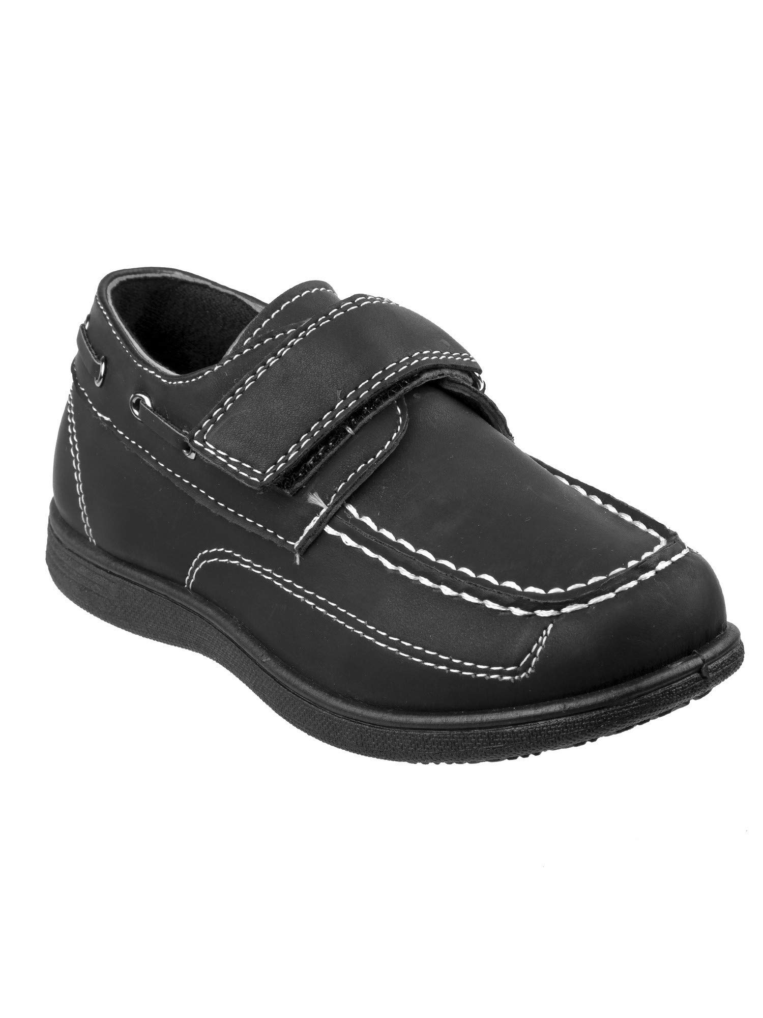 Josmo Little Boys Black Stitching Detail Hook-And-Loop Boat Shoes 10 Toddler