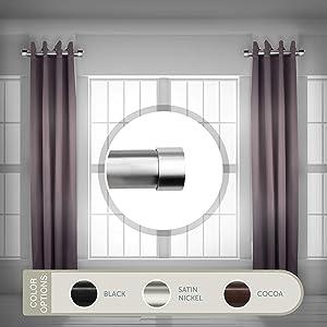 "Rod Desyne 1.5"" Side Curtain Rod, 12-20 inch (Set of 2), Satin Nickel"