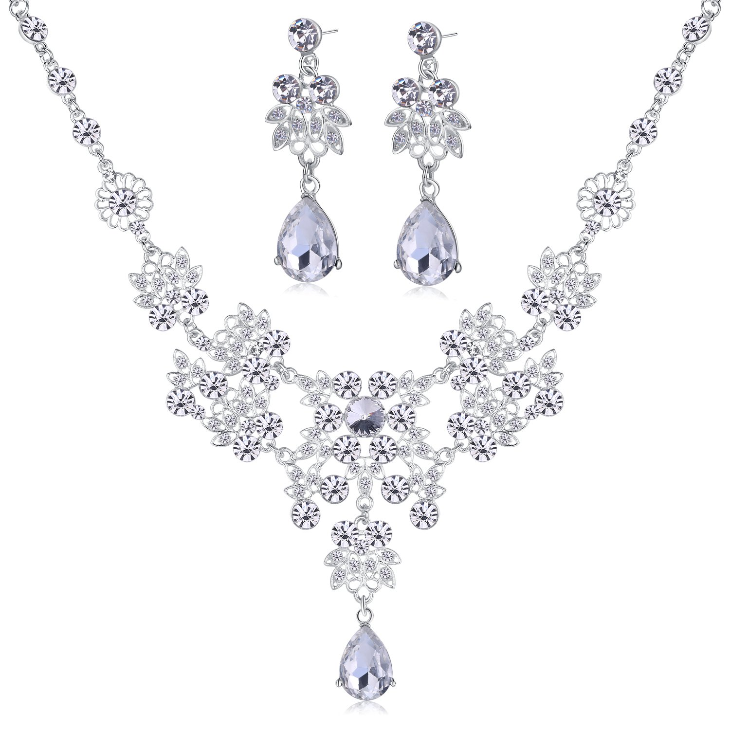 luxury wedding rhinestone party accessories set item crystal necklace earrings in bridal sets india women from jewelry style