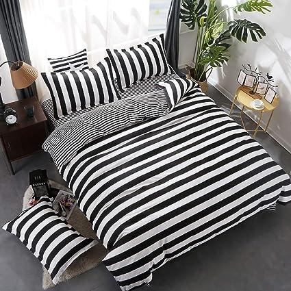 Amazon Com Wuy Black And White Bedding Set 3pc Striped Duvet