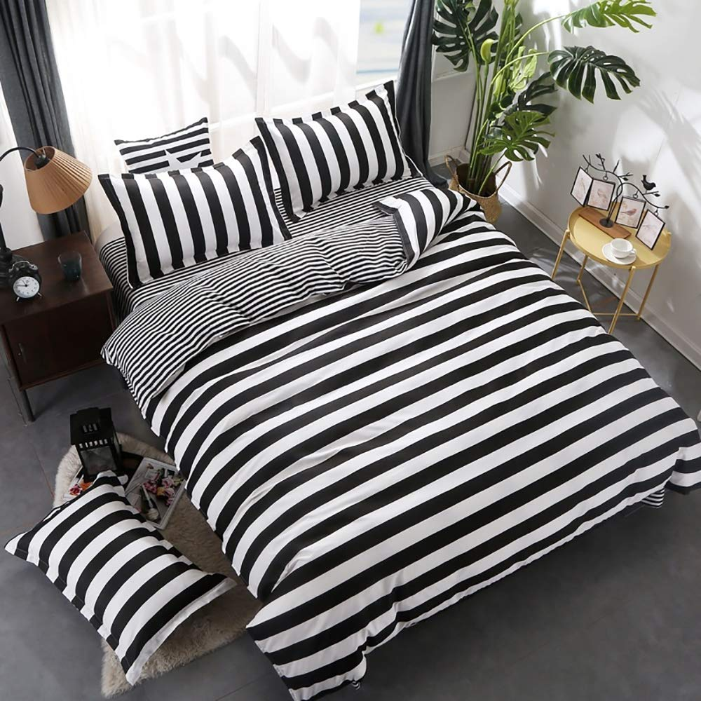 wuy Black and White Bedding Set 3PC Striped Duvet Cover Pillowcase Reversible Design Home Textiles (Twin,1 Duvet Cover +2 Pillow)