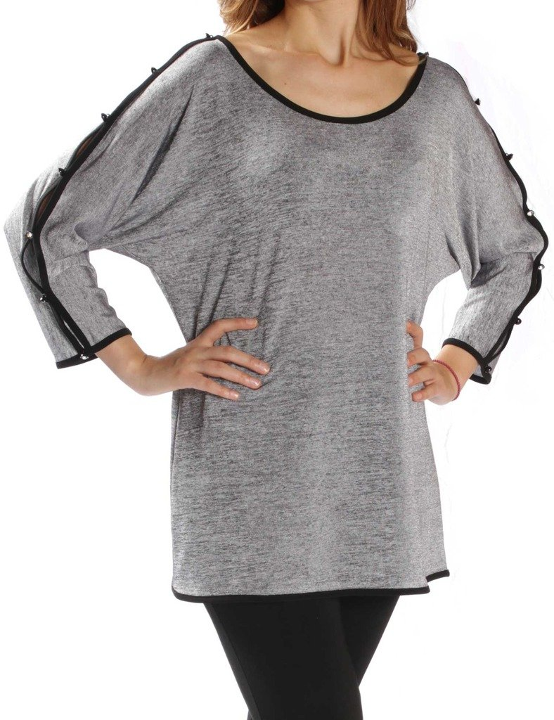 Joseph Ribkoff Grey Sweater Tunic with Open Sleeves & Accents Style 171455 - Size 12