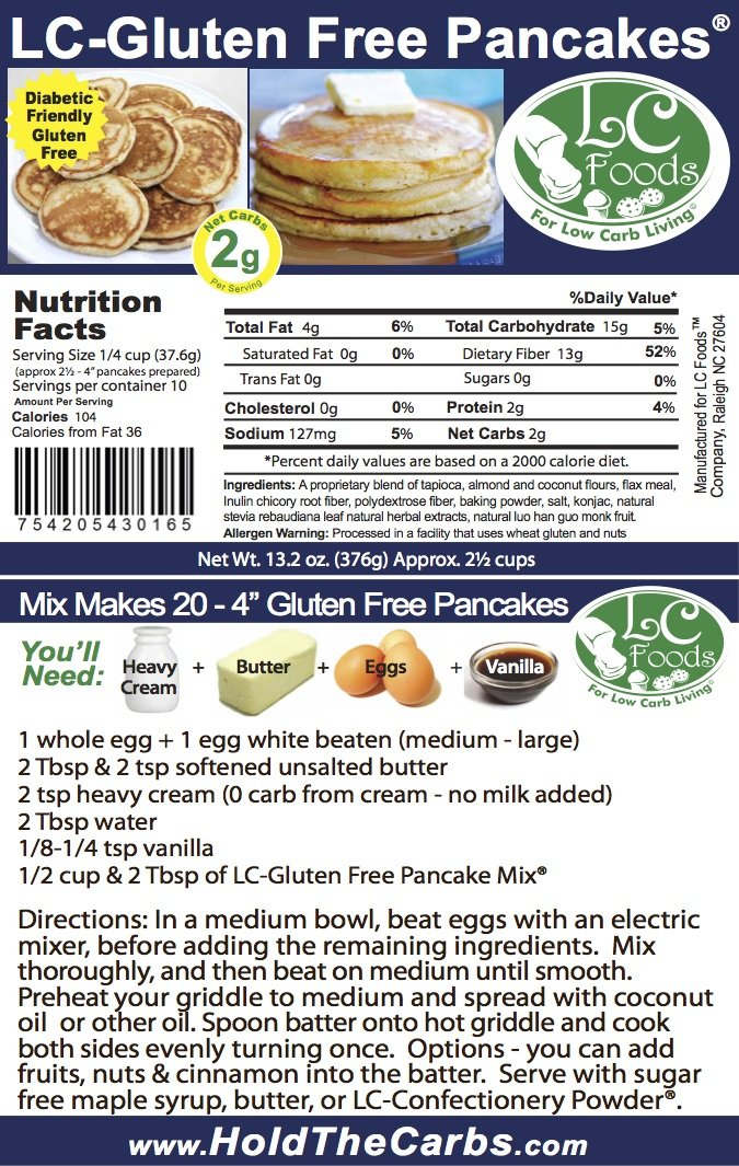 Low Carb Gluten Free Pancake Mix - LC Foods - All Natural - No Sugar - Diabetic Friendly - 13.2 oz