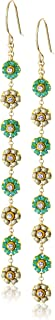 product image for Miguel Ases Green Jade and Swarovski Dainty-Floral Drop Earrings