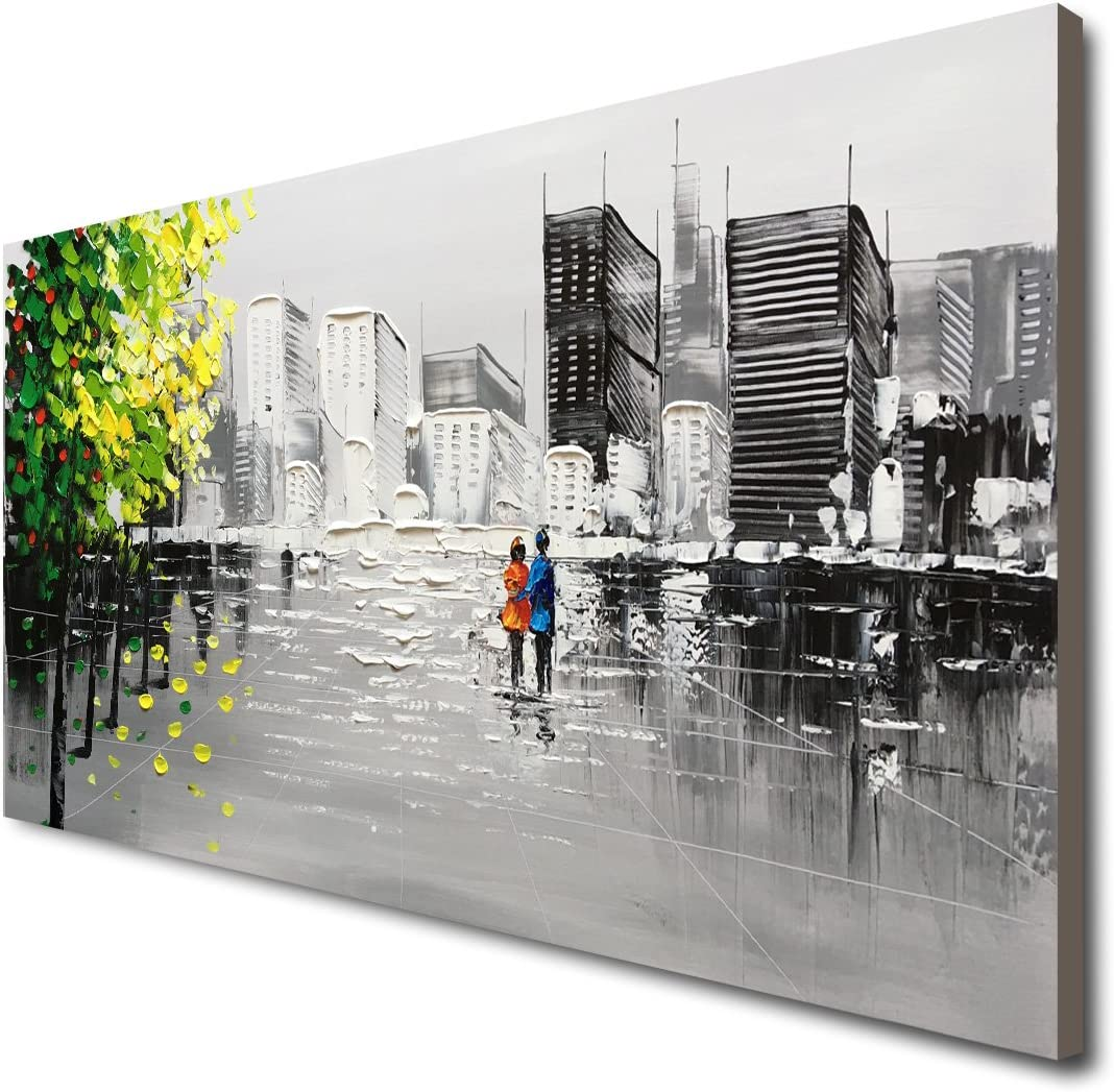 Winpeak Hand Painted Black and White Cityscape 3D Oil Painting on Canvas with Green Yellow Tree Wall Art City Artwork