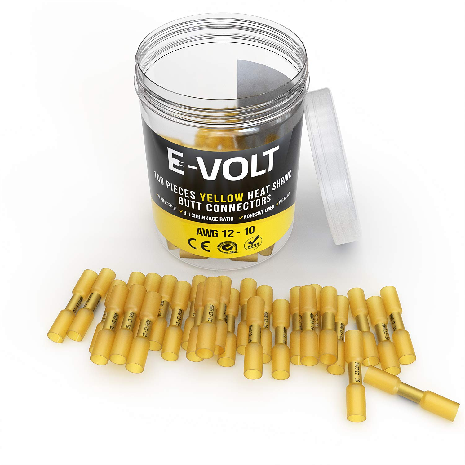 100 Pc Yellow Heat Shrink Butt Crimp Connectors 12 10 Gauge Bulk Wiring Terminals Automotive Waterproof Electrical