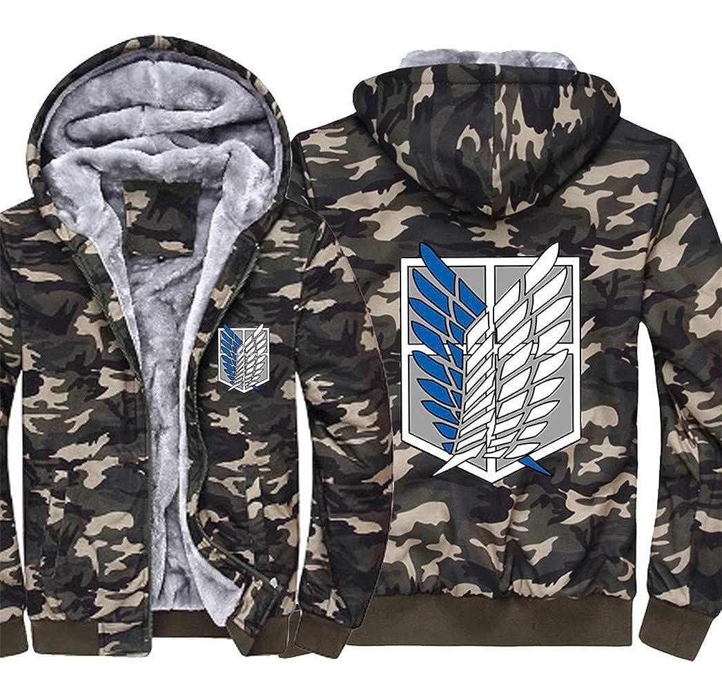 Gumstyle Attack on Titan Thicken Hoodie Jacket Unisex Camo Luminous Sweatshirt