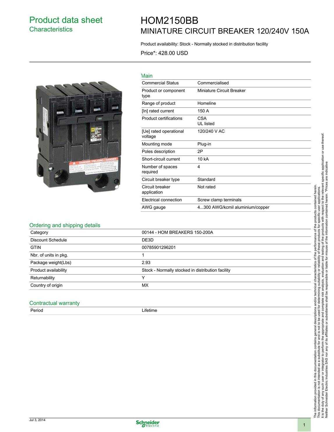 Homeline Plug On Circuit Breaker Hom2150bb Branch 150 Amp Ul Types Video Different Of Breakers Ehow Approved