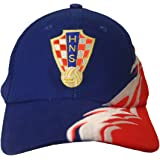 Croatia Blue White Curved Stripe Red HNS Logo On Brim FIFA Soccer World Cup Embossed Hat Cap .. New - WC .. High Quality .. New