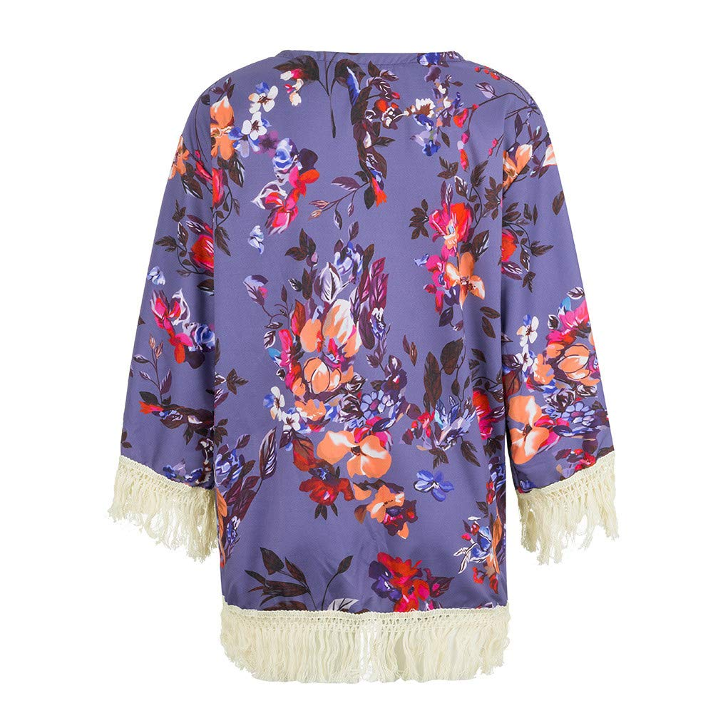 NUWFOR Womens Three Quarter Sleeve Floral Printed Shawl Tassel Kimono Cover Up Cardigan(Purple,L) by NUWFOR (Image #5)