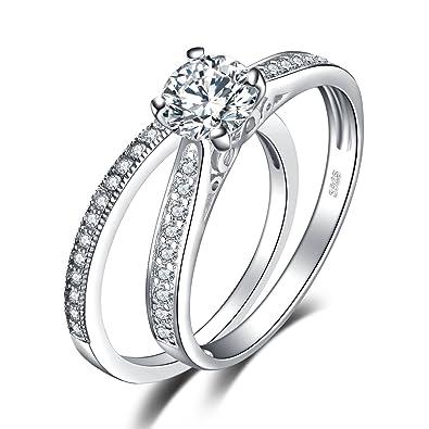 9c5f5bb8e3bc1 JewelryPalace 1,3ct Zircone Cubique Anniversaire Bague De Fiançailles  Alliance Solitaire Anneau Mariage Engagement Ensembles