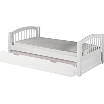 Camaflexi Arch Spindle Style Solid Wood Platform Bed With Trundle, Twin,  White