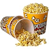"Novelty Place Retro Style Plastic Popcorn Containers for Movie Night - 7.25"" Tall x 7.25"" Top Diameter (3 Pack)"