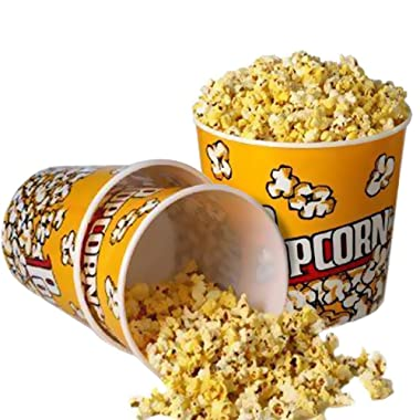 Novelty Place Retro Style Plastic Popcorn Containers for Movie Night - 7.25  Tall x 7.25  Top Diameter (3 Pack)