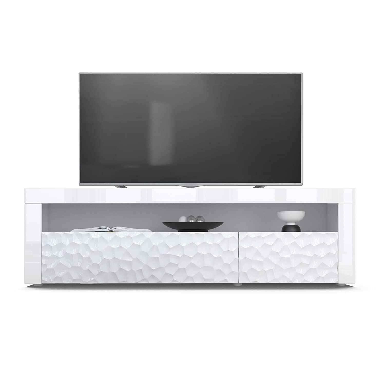 Tv Stand Unit Valencia Carcass In White Matt Front In White  # Meuble Tv Led Fly
