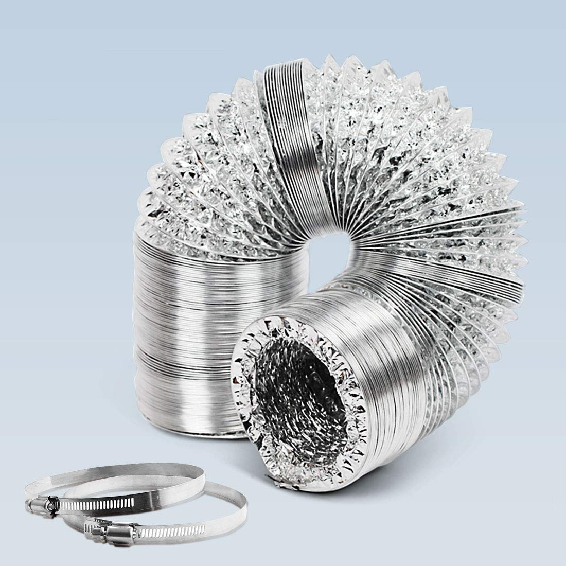 GROWNEER 6 Inch 25 Ft Aluminum Air Ducting with 2 Stainless Steel Clamps, Non-Insulated Flexible Air Duct Hose for HVAC Ventilation