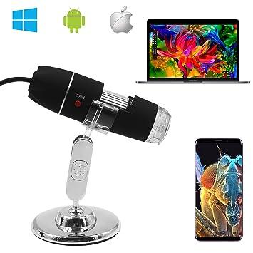 Microscopio digital, microscopio de aumento SOSENSE de 0 a 1600 x, microscopio digital micro USB 2.0 de 2MP 8 y mini cámara, mini cámara con soporte, ...