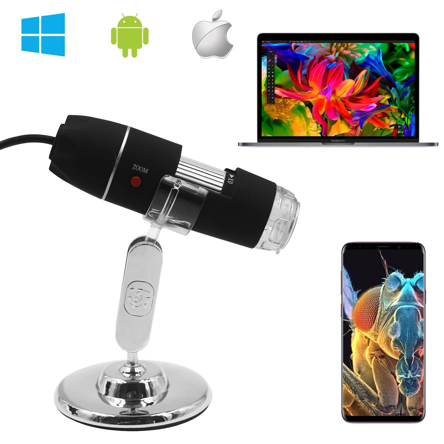 Digital Microscope,Z-Roya 0 to 1600x Magnification Endoscope, 2MP 8 LEDUSB 2.0& Micro Digital Microscope, Mini Camera with Stand, Compatible with Mac Window 7 8 10 Android Linux by Z-Roya